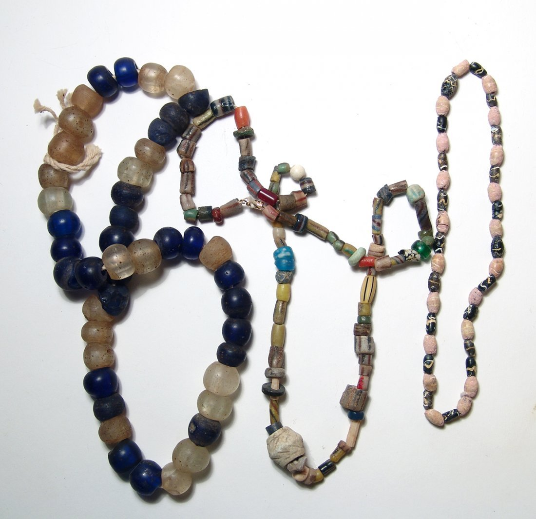 A lot of three antique beaded necklaces
