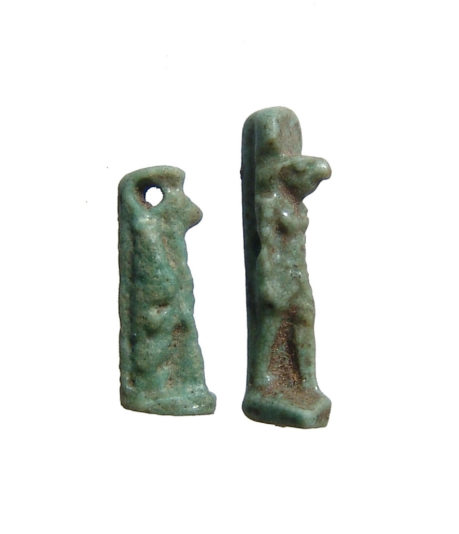A pair of miniature Egyptian green faience amulets