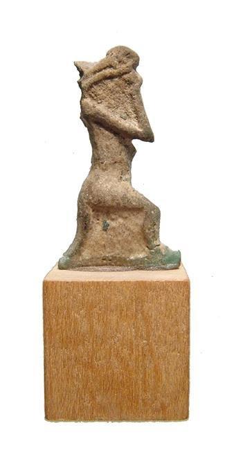 Rare Egyptian faience amulet of the god Nehebkau