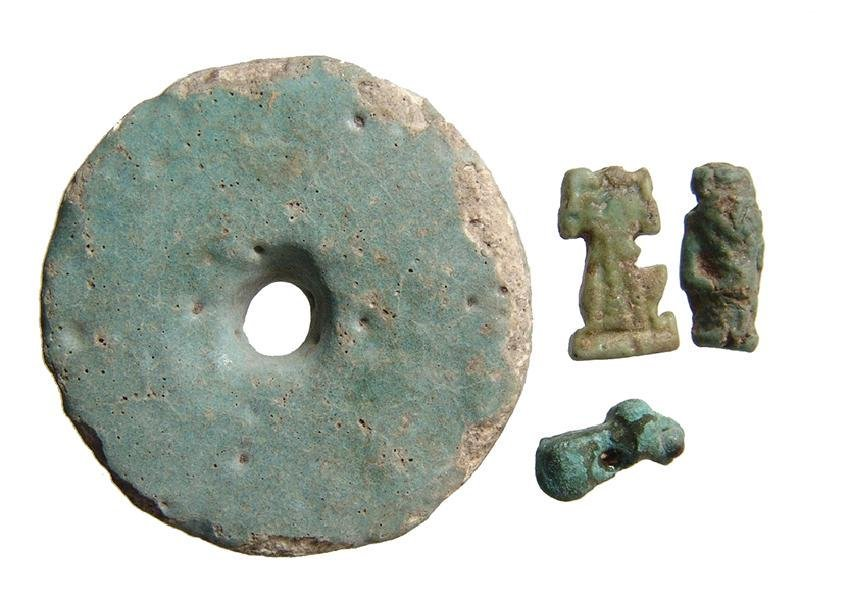 3 Egyptian faience items and Near Eastern bronze amulet