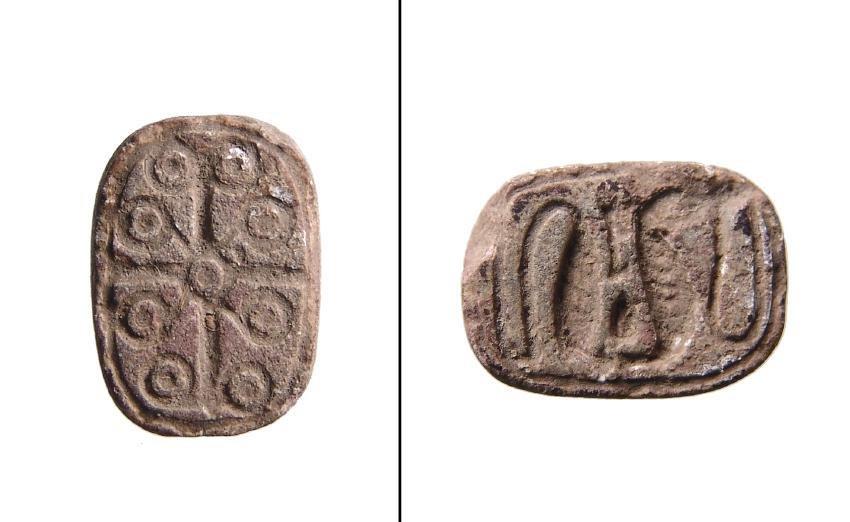 Egyptian scaraboid plaque w/ inscription on both sides