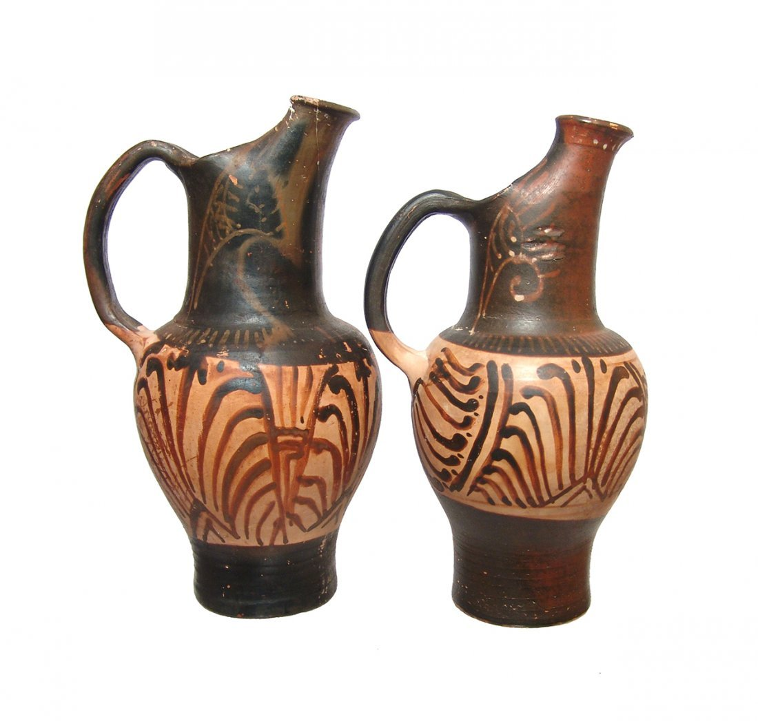 Pair of reproduction of Etruscan-style ceramic olpes
