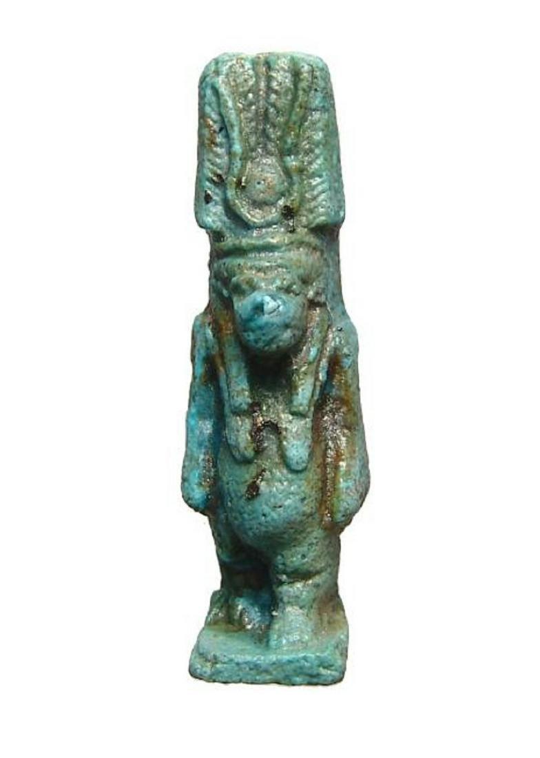 Egyptian blue-glazed faience amulet of Taweret