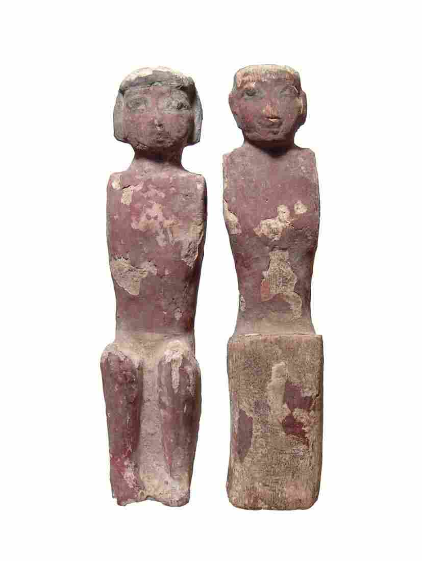 Pair of large Egyptian wood figures, Middle Kingdom