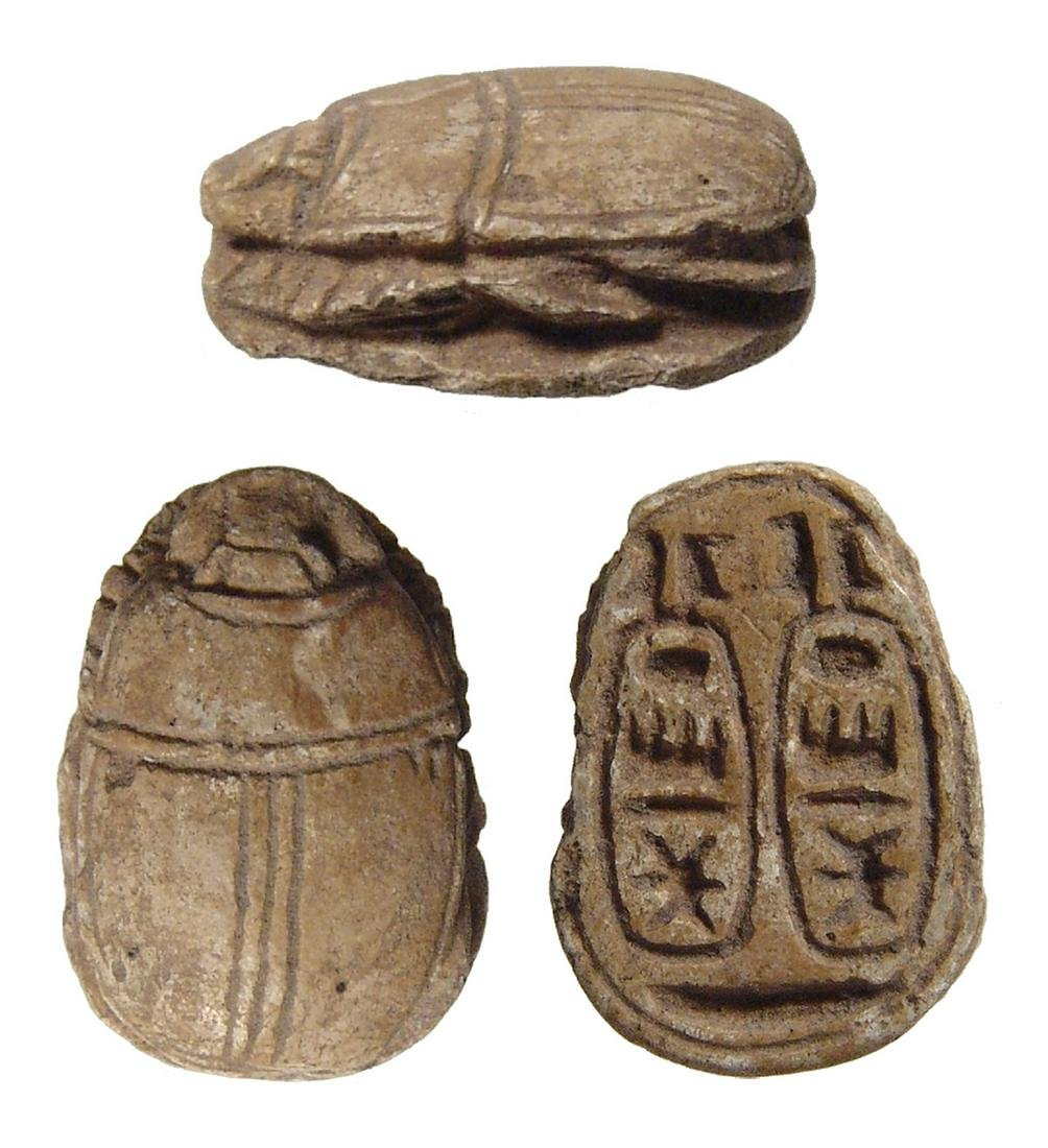 Egyptian steatite scarab with cartouches, Thutmose III