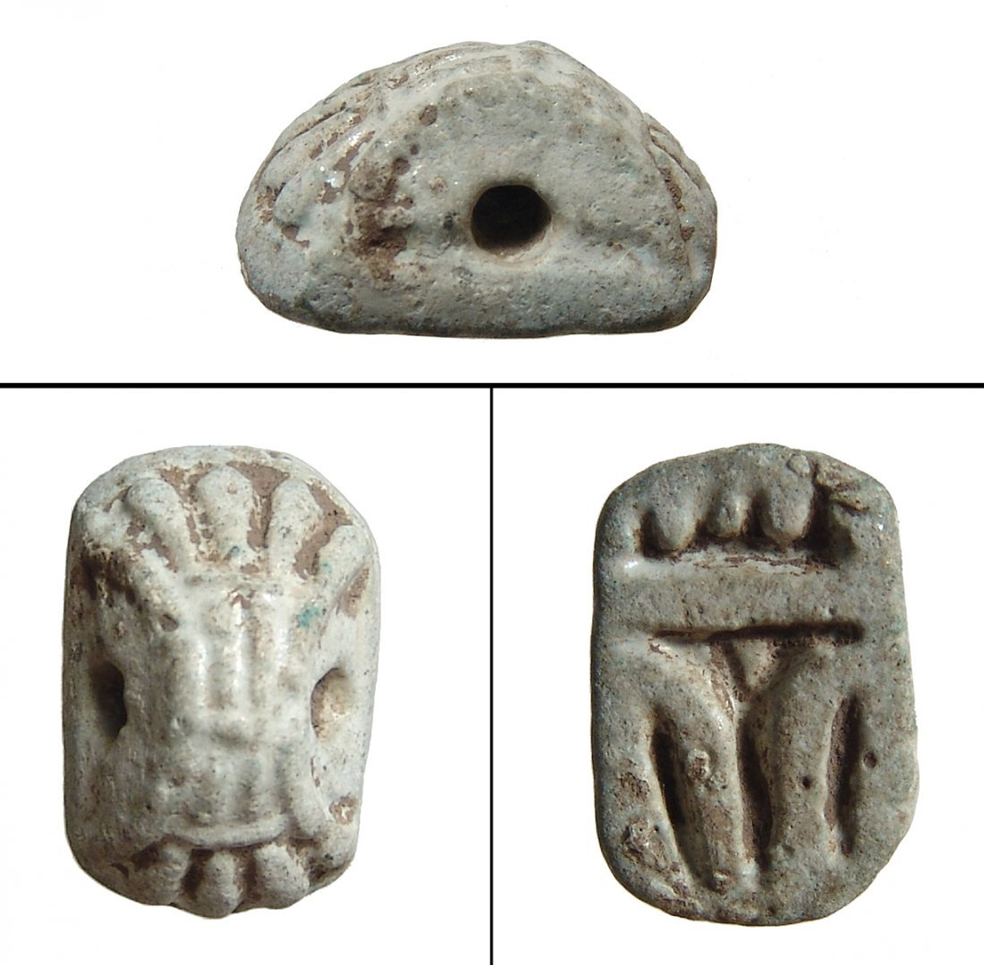 Egyptian faience stamp seal, New Kingdom to Late Period