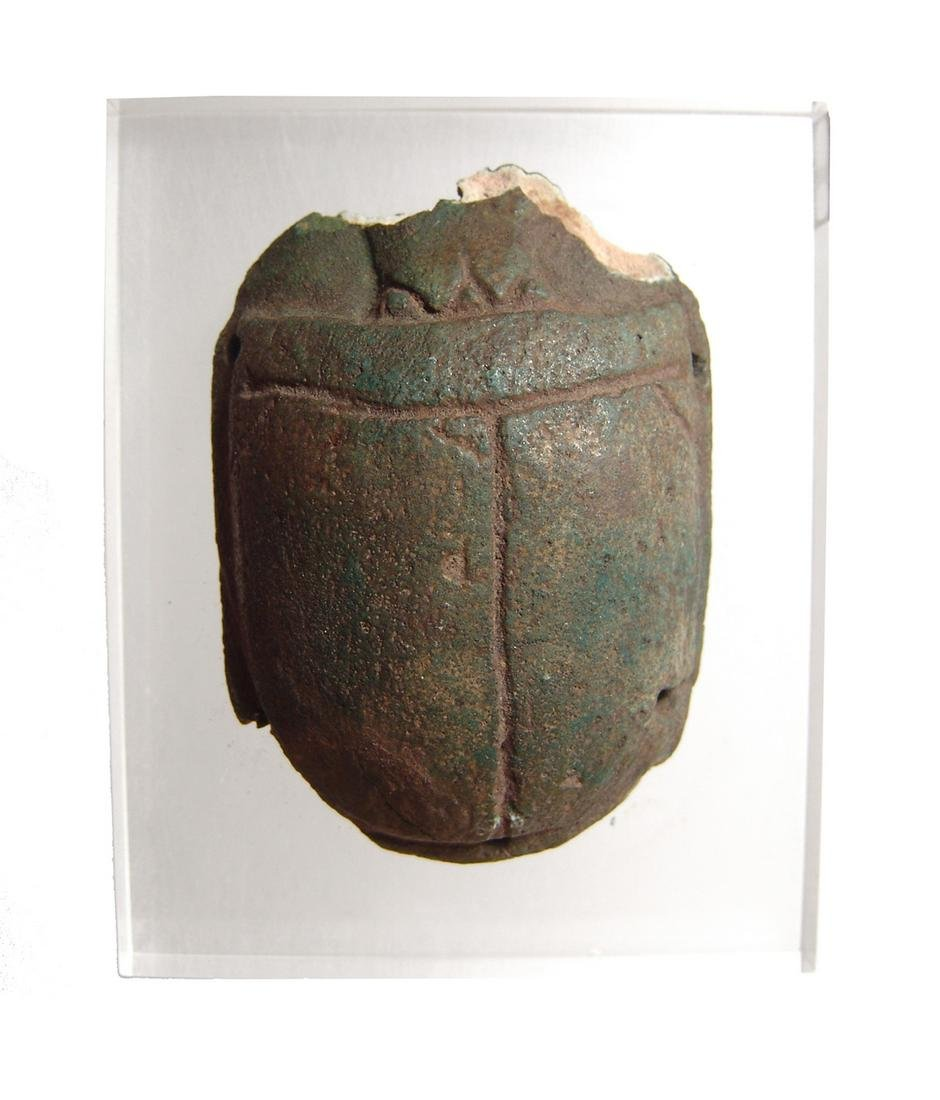 Large Egyptian green faience funerary pectoral scarab
