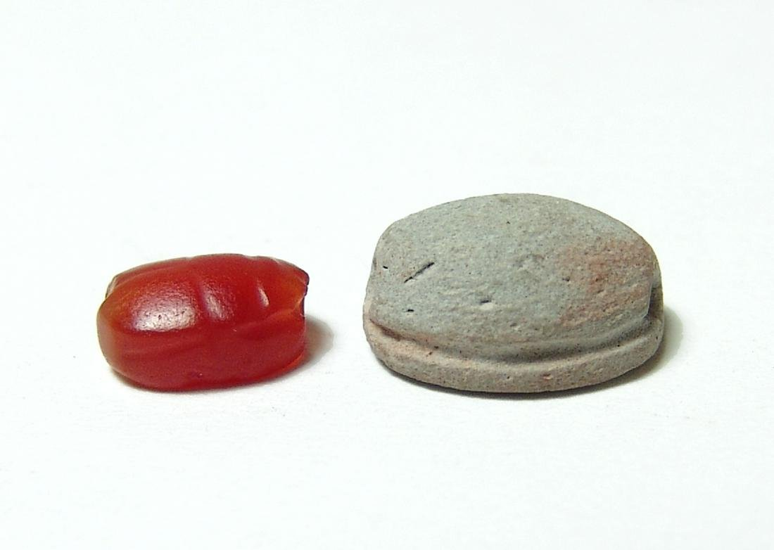 A pair of Egyptian scarabs, New Kingdom