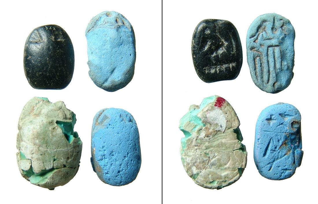 A group of 4 of Egyptian scarabs