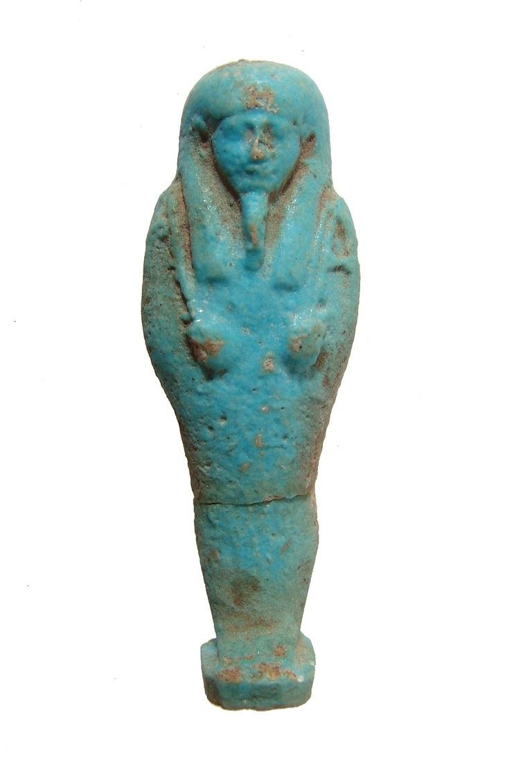 Egyptian light blue glazed ushabti, Late Period