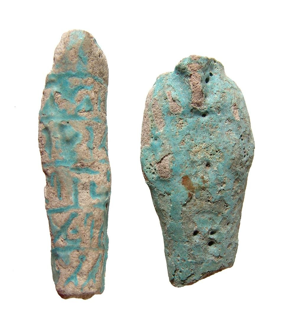 A pair of Egyptian ushabti fragments, Late Period