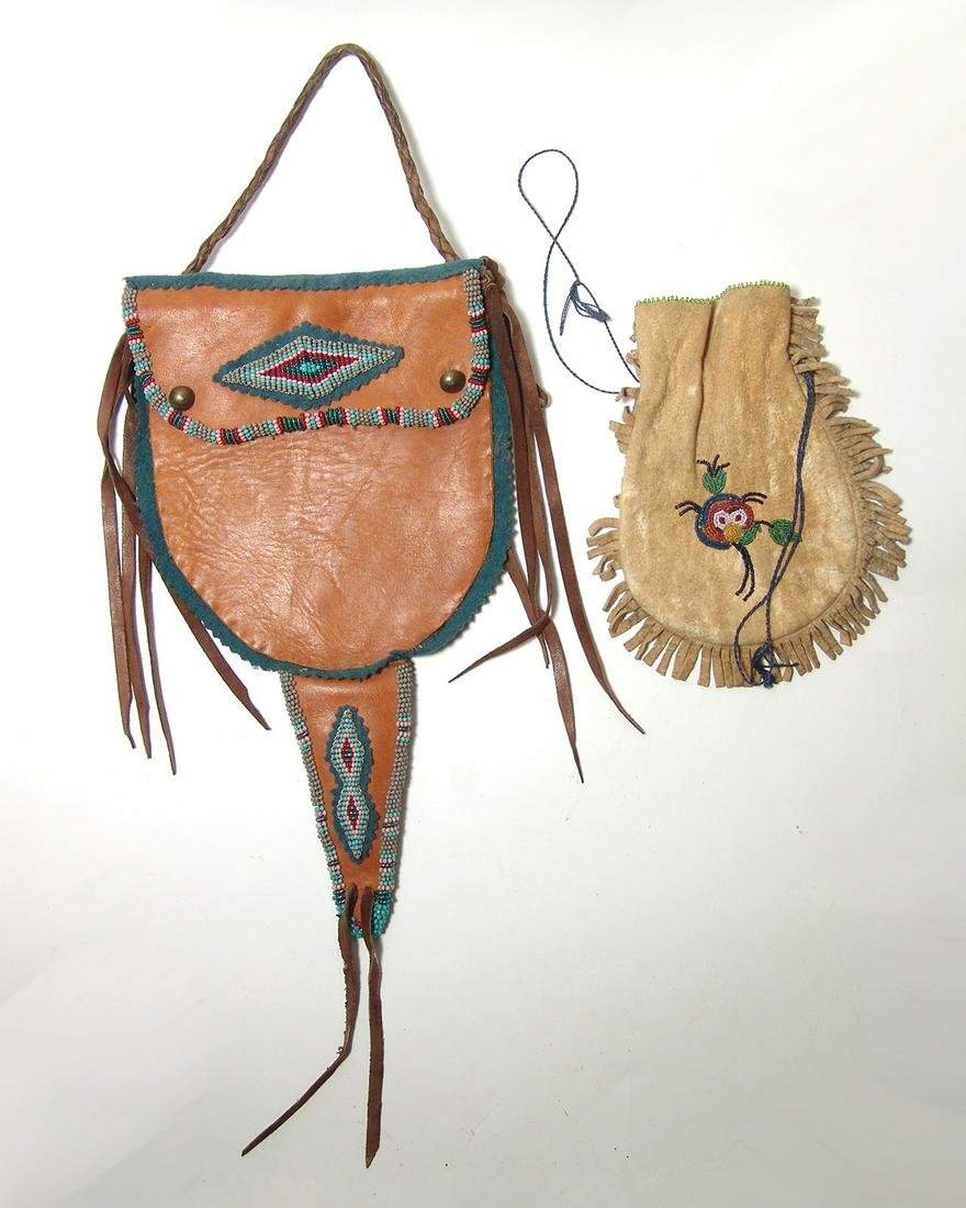 A pair of lovely Native American leather bags