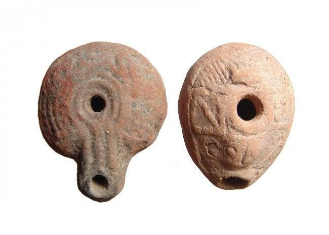 A pair of Egyptian frog lamps, Roman Egypt