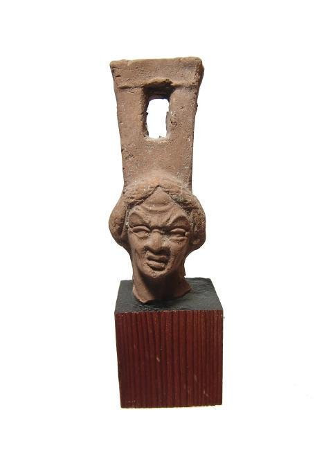 Roman sistrum handle with head of female grotesque