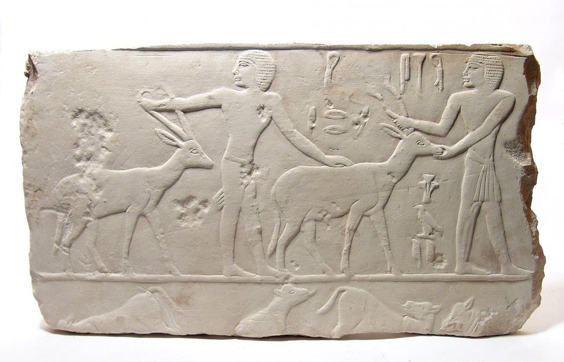 A wonderful Egyptian limestone relief, Old Kingdom