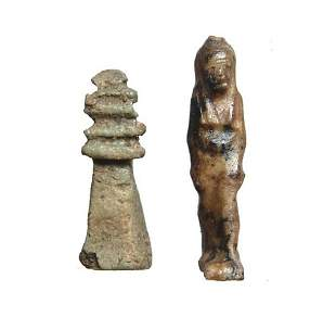 Pair of Egyptian amulets in lapis lazuli and faience