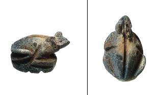 An Egyptian faience amulet seal of a frog, Late Period