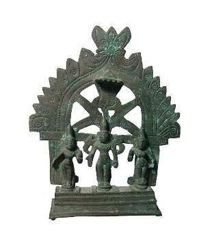 Hindu bronze representation of Vishnu with two of his