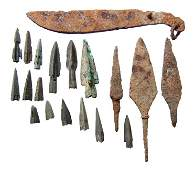 A mixed group of iron and bronze blades and points