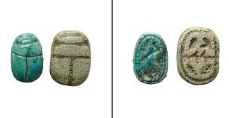 A pair of small Egyptian faience scarabs