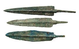 A group of 3 Near Eastern bronze weapon points