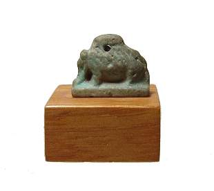 A nice Egyptian blue glazed faience amulet of a sow