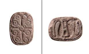 Egyptian scaraboid plaque with inscription on both