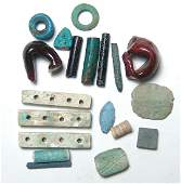 Group of mixed Egyptian faience and glass objects