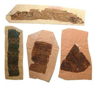 A group of 4 Coptic textile fragments, Egypt