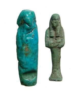 Egyptian faience ushabti and modern companion