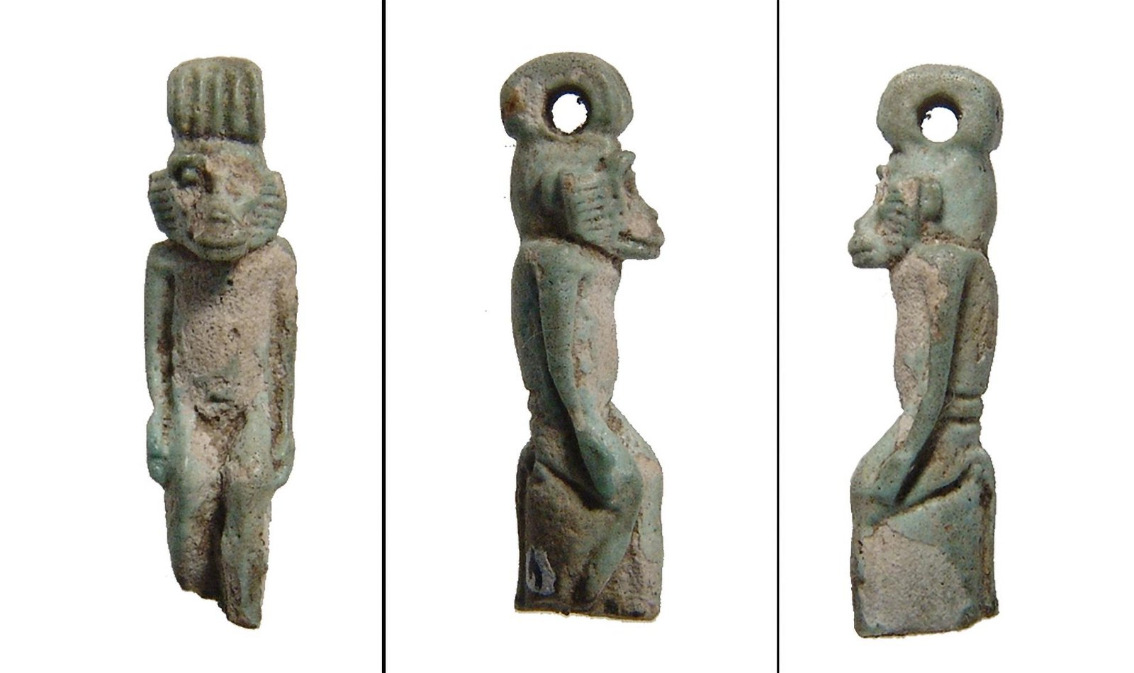 Rare and well-detailed faience amulet of a monkey