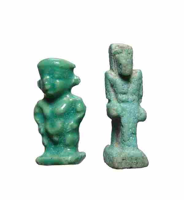 Nice pair of Egyptian faience amulets, Ptolemaic Period