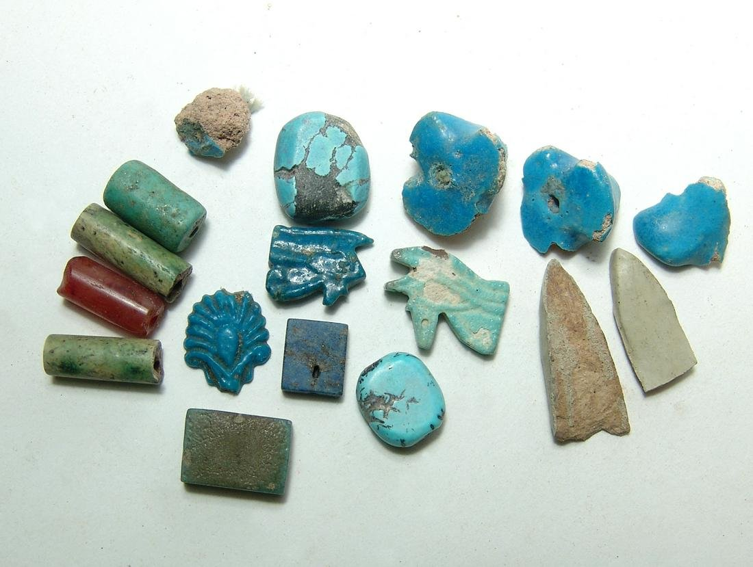 Mixed group of Egyptian faience objects, Late Period