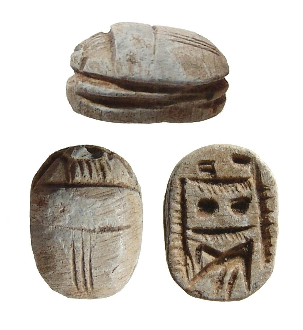 An Egyptian steatite scarab, Late Period