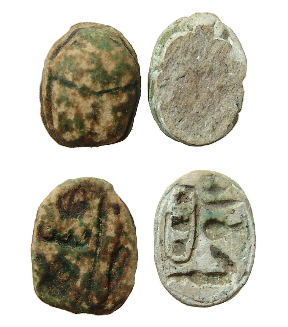 A pair of Egyptian scarabs, Thutmose III
