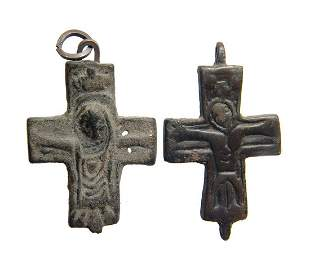 A pair of Byzantine bronze crosses
