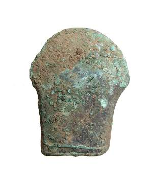 Heavy Chinese bronze socketed axe w wood remnants