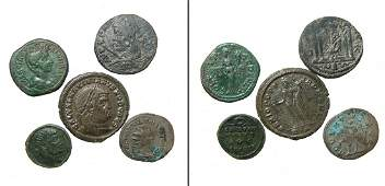 A group of 5 Roman bronze coins
