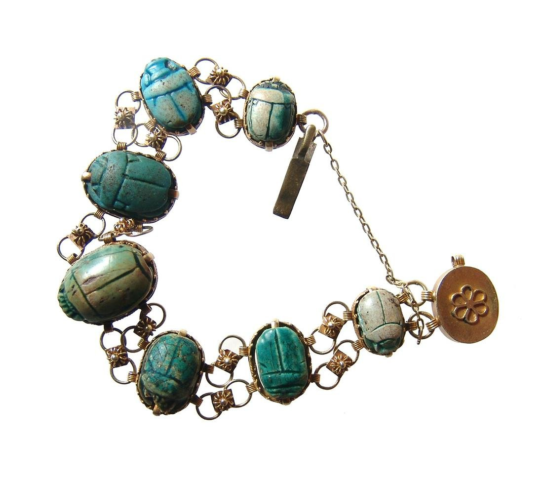 Beautiful antique gold bracelet with 7 Egyptian scarabs
