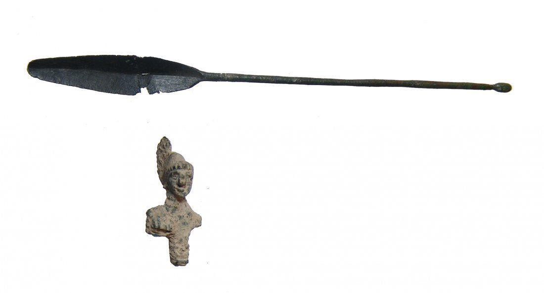 A Roman bronze bust of Minerva and a medical spatula
