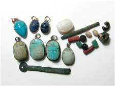 A nice group of 8 antique replica Egyptian scarabs