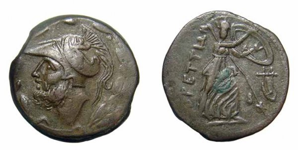9: Bruttium, The Bretti. AE-Double-Didrachm. Hera. VF
