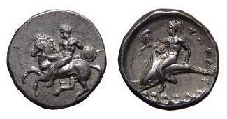 13 Calabria Tarentum 380345 BC AR Nomos  EF