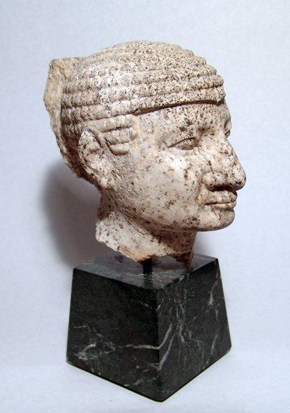 1: Egyptian stone head. Ex-Saint Louis Art Museum