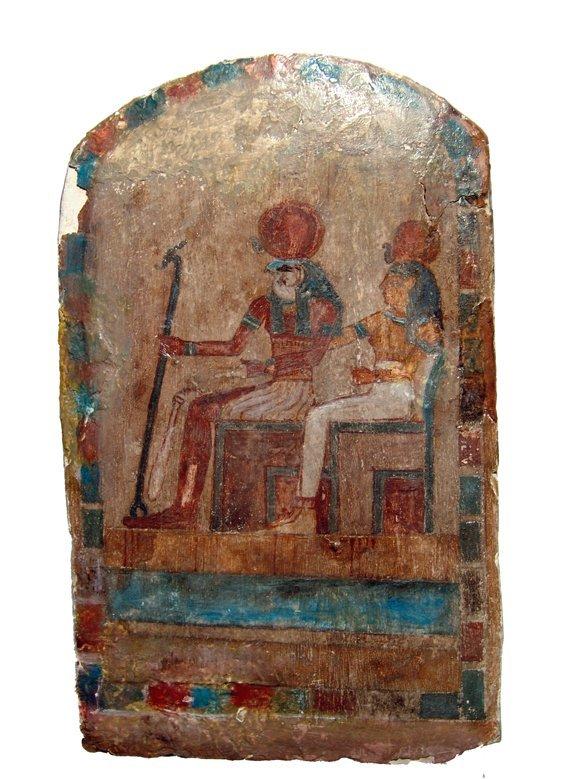 6: Egyptian polychrome relief, Horus with goddess