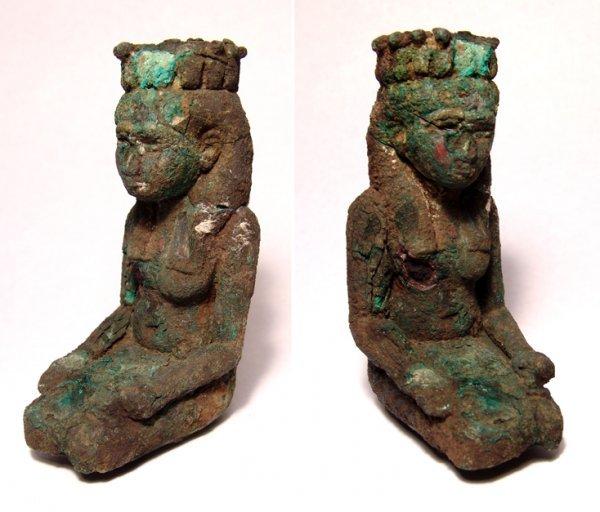 10: Bronze figure of kneeling Isis, uraeus headdress