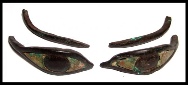 13: Egyptian bronze inlaid eyes from a sarcophagus