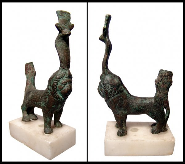 14: Egyptian bronze lion with a uraeus