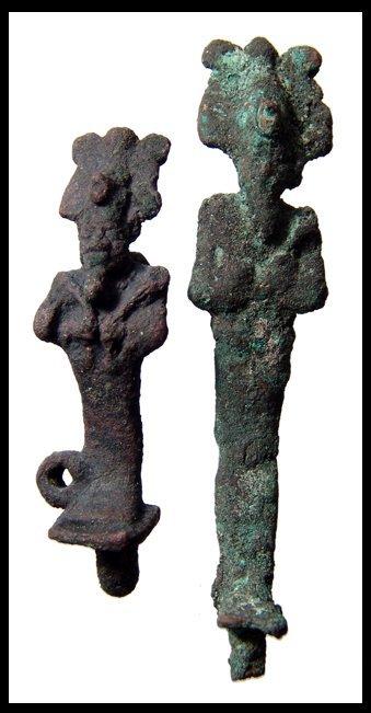 16: Pair of Egyptian bronze amulets of Osiris