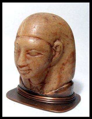 17: New Kingdom, head of a large alabaster ushabti